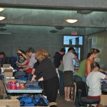 Our team of wonderful volunteers stuffing bags for hours!